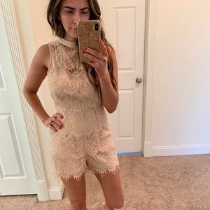Lace detailed romper